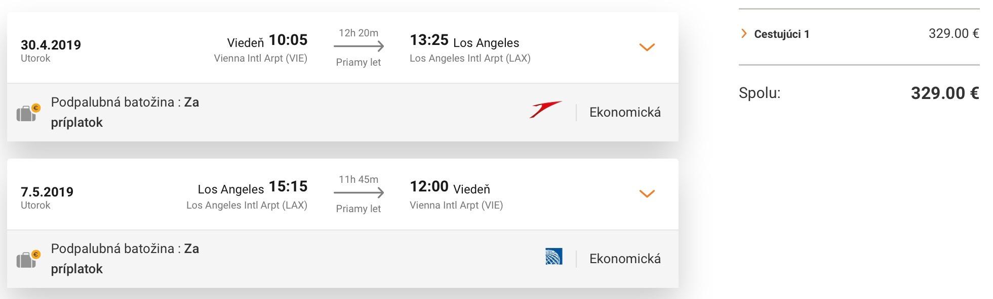 LOS ANGELES: priame lety do slnečnej Kalifornie z Viedne za výborných 329€