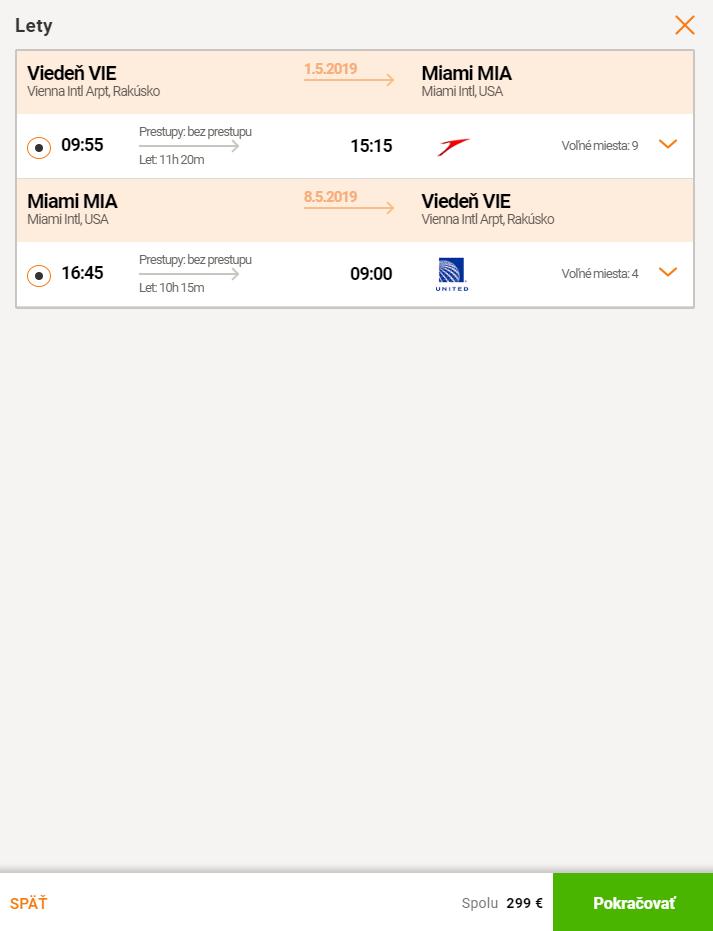 MIAMI bez prestupu s odletom z Viedne za skvelých 299€