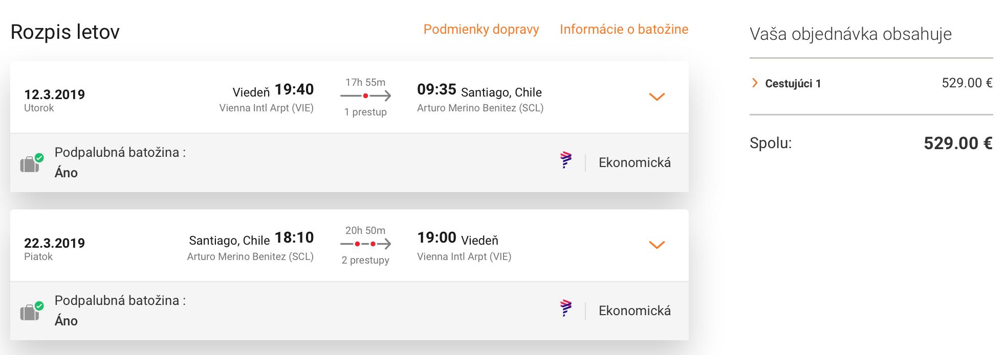 Chile: Santiago s odletom z Viedne už za 529€ (batožina v cene!)
