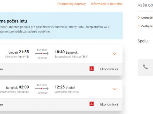 SUPER PONUKA Emirates pre páry a skupiny: do BANGKOKU z Viedne už za výborných 459€ (batožina v cene!)