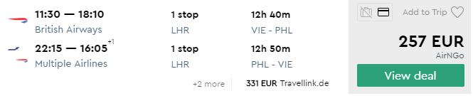 Z Viedne do Philadelphie už od skvelých 257€