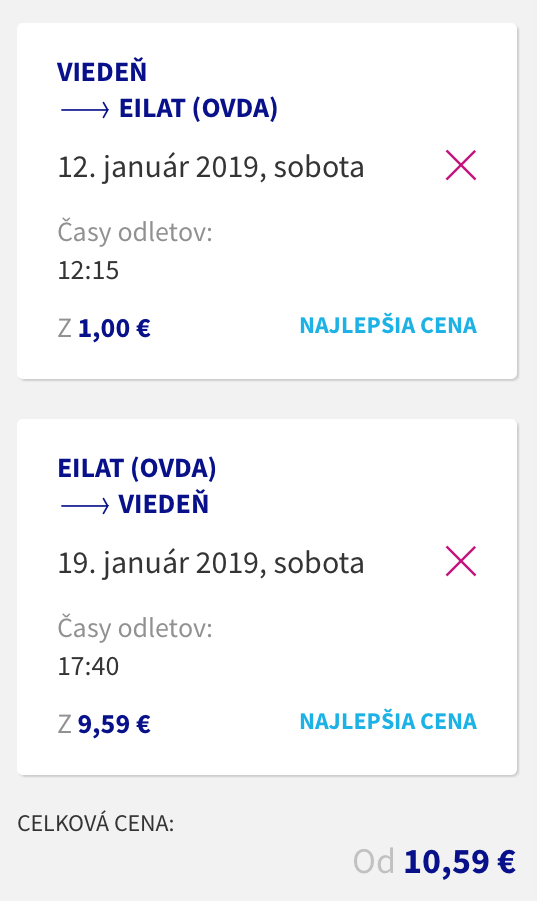 Jednosmerné letenky z Viedne do EILATU za neskutočné 1€ (spiatočné za 10€)