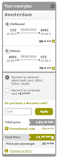 Amsterdam s odletom z Viedne už od výborných 37€