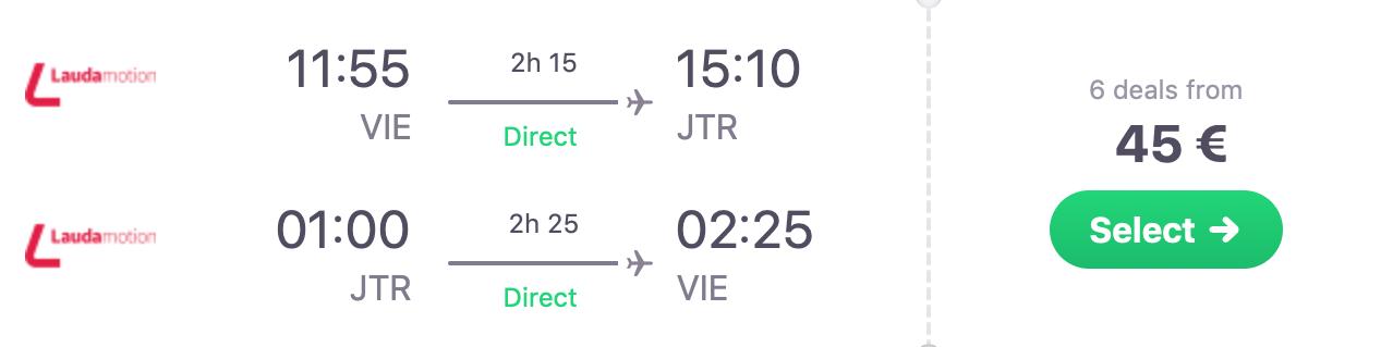 Májové SANTORINI: ubytovanie na 5 nocí  + letenka z Viedne za perfektných 171€ (ak idú 2 osoby)