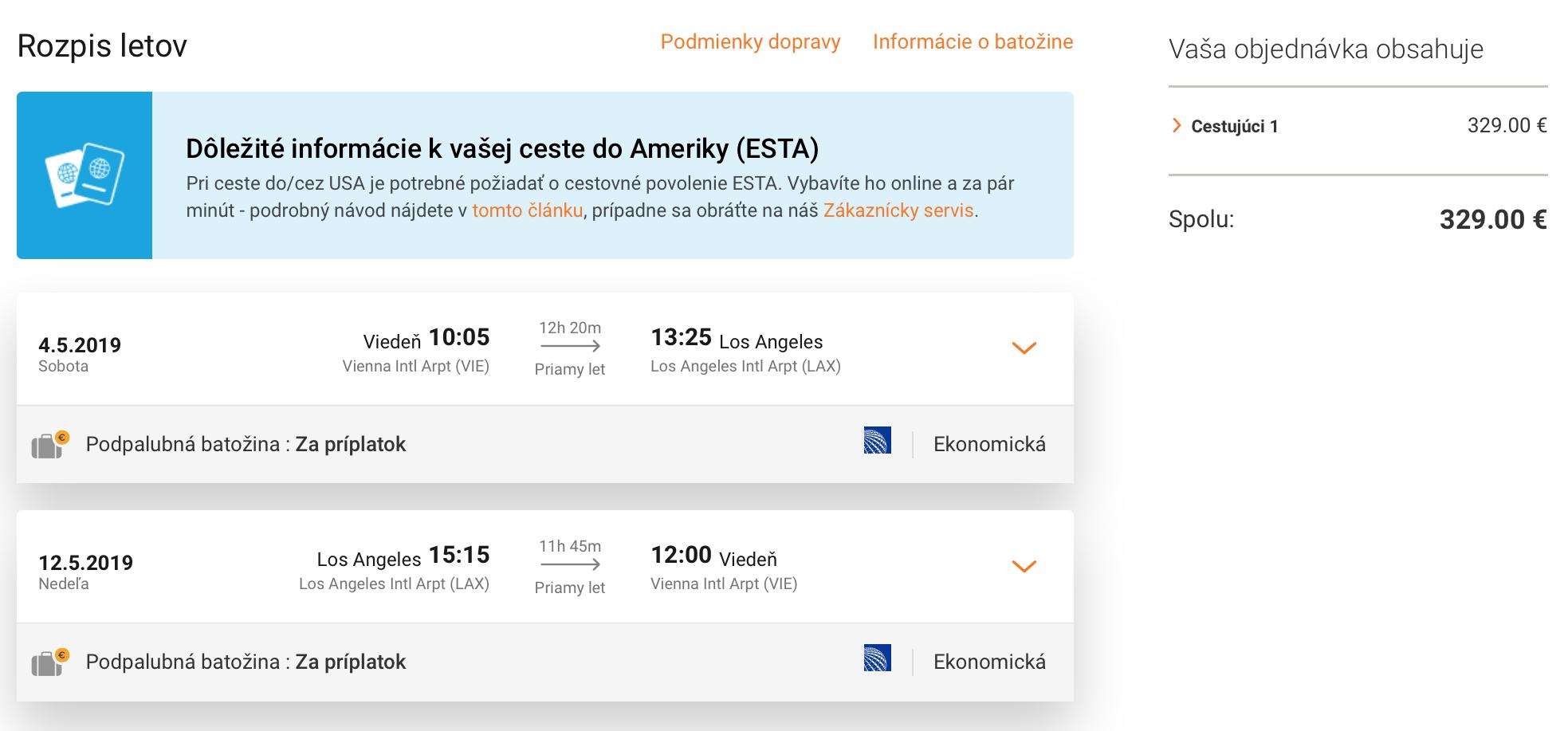 Priame lety z Viedne do LOS ANGELES za výborných 329€