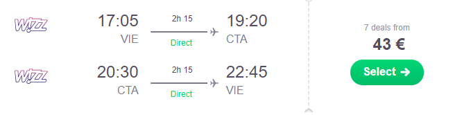 Júnová Sicília: CATANIA z Viedne od výborných 43€ (členovia WDC od ešte lepších 22€)