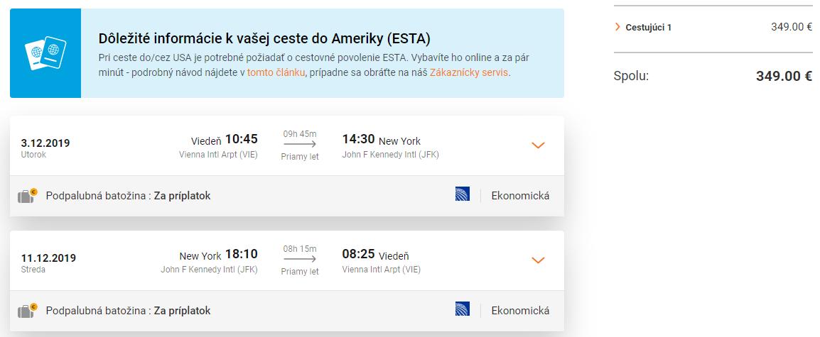 NEW YORK bez prestupu z Viedne za veľmi dobrých 349€
