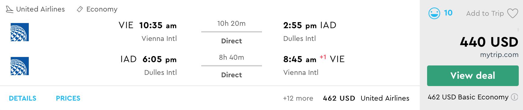 WASHINGTON bez prestupu za výborných 391€ (odlet z Viedne)