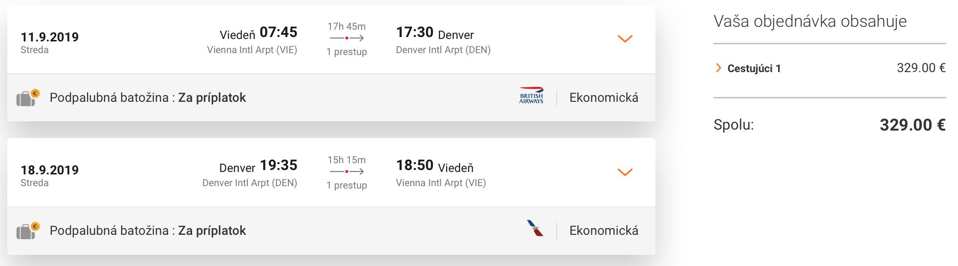 DENVER: Colorado s odletom z Viedne za skvelých 329€