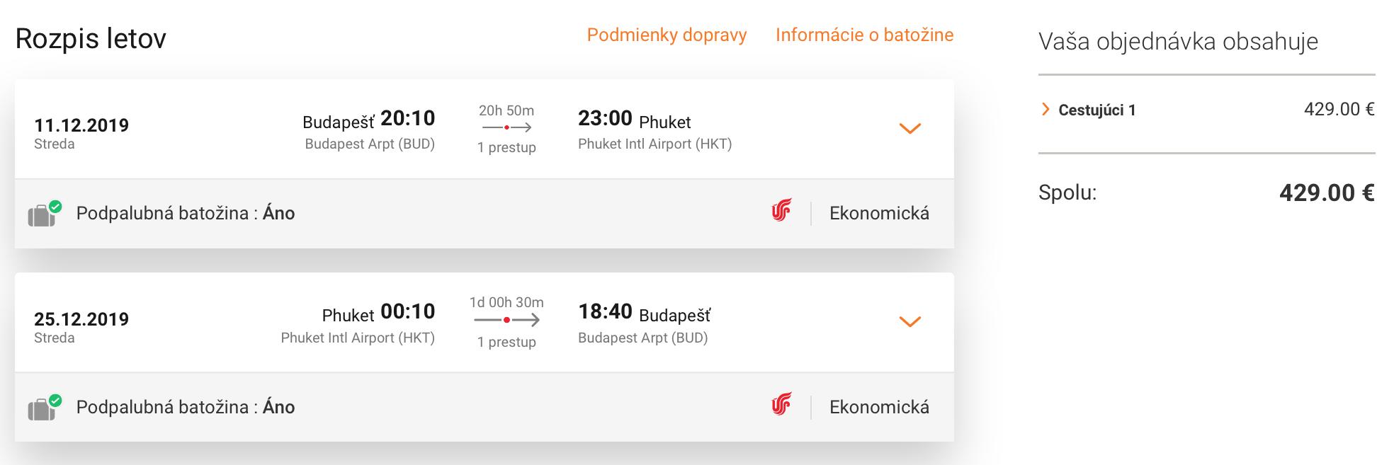 Thajsko: PHUKET v TOP sezóne s odletom z Budapešti za výborných 429€ (batožina v cene!)