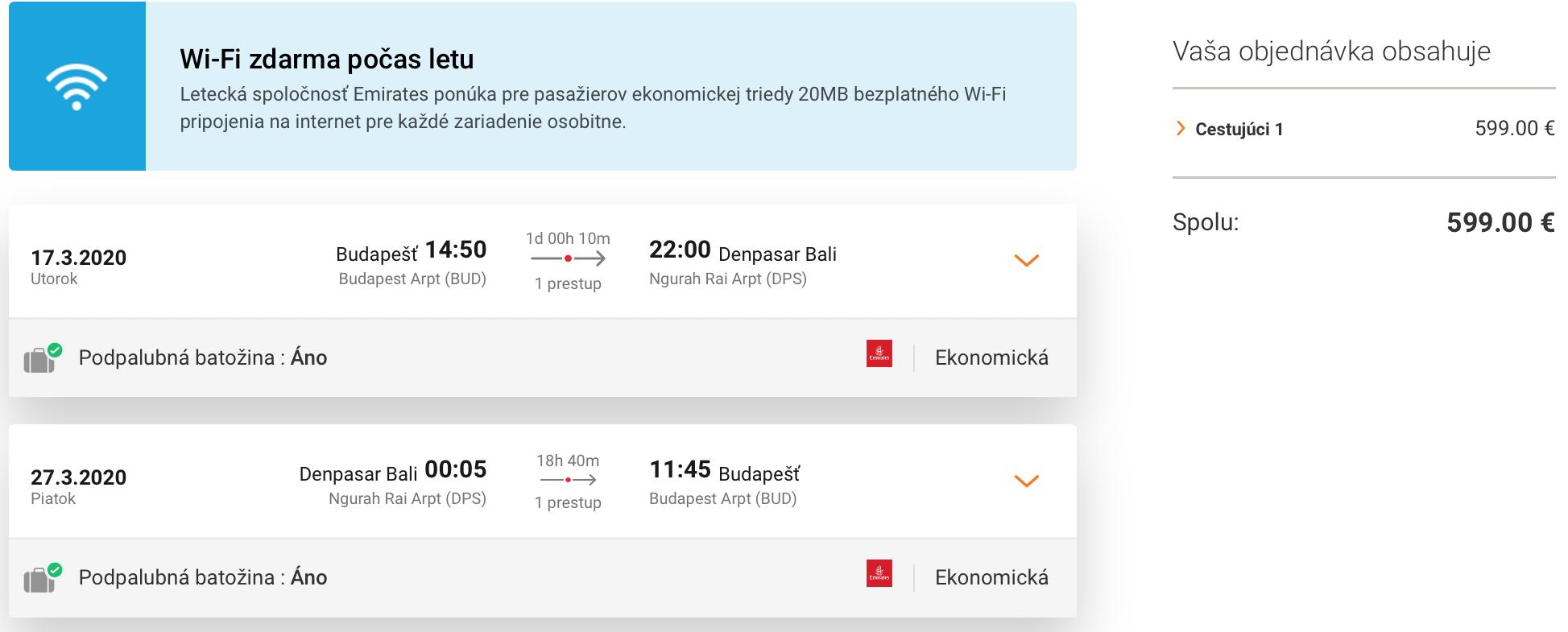 Na BALI s Emirates za veľmi dobrých 599€ (odlet z Budapešti a batožina v cene!)