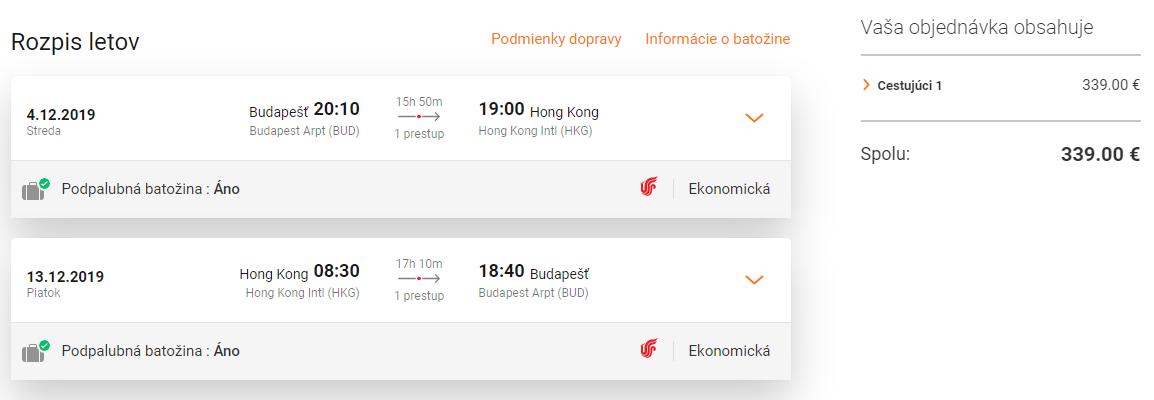 HONG KONG s odletom z Budapešti za veľmi dobrých 339€ (batožina v cene!)