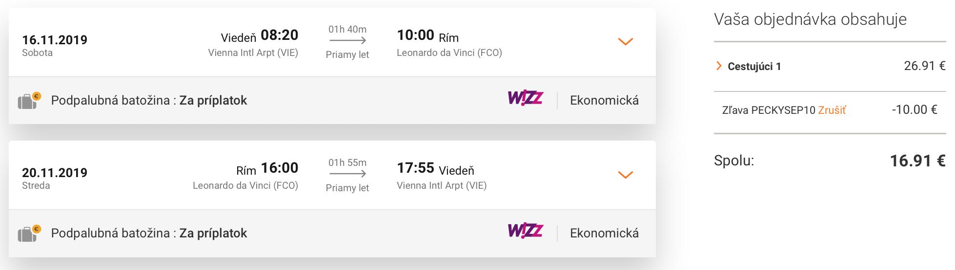 RÍM s odletom z Viedne za parádnych 16€
