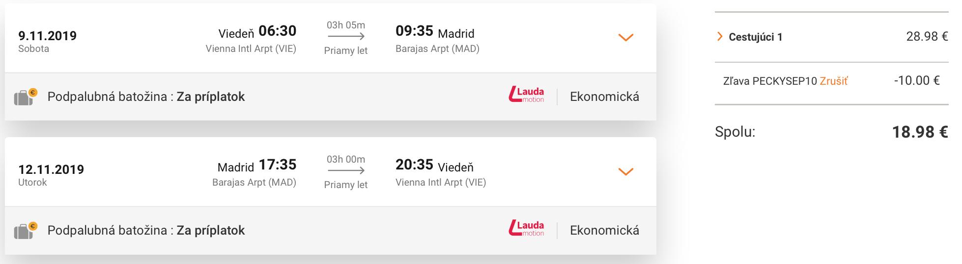 MADRID na predĺžený víkend od skvelých 19€ (odlet z Viedne)
