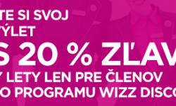 Super ponuka Wizz Air: 20% zľava na všetky lety pre členov WDC (napr. Bratislava – Skopje za 19€)