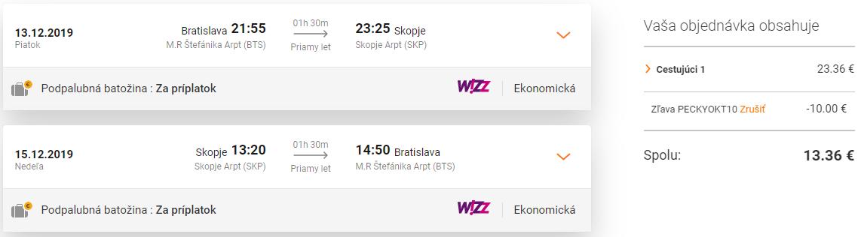 Macedónske SKOPJE s odletom z Bratislavy za skvelých 13€