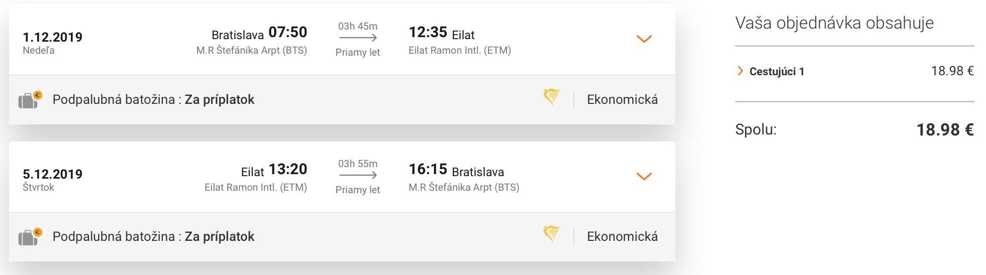 EILAT v zimných mesiacoch za parádnych 19€ (odlet z Bratislavy)