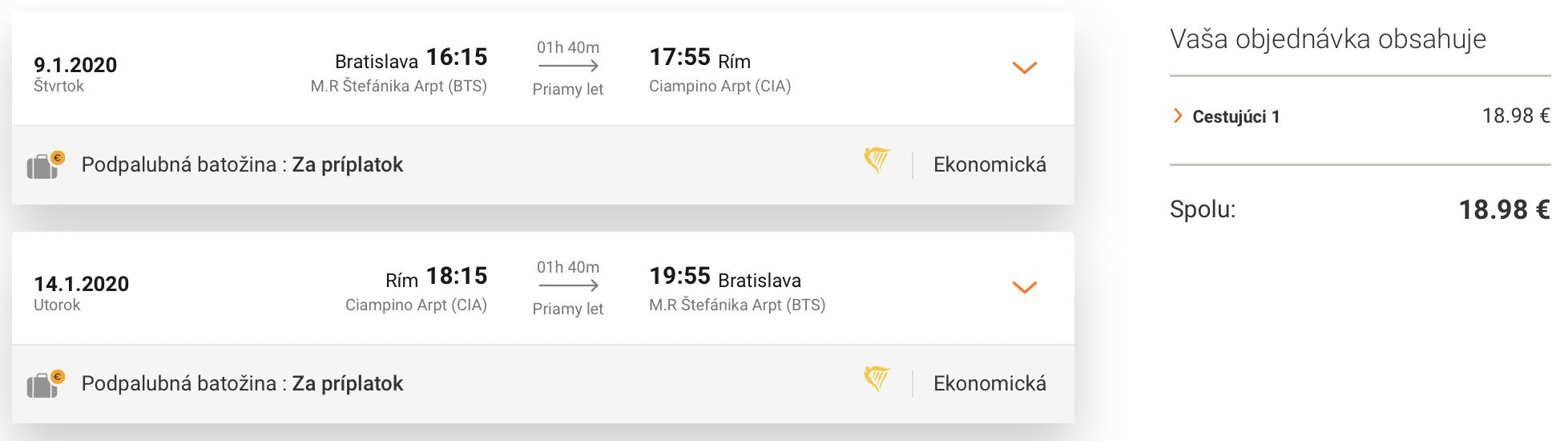 RÍM na predĺžený víkend s odletom z Bratislavy za skvelých 19€